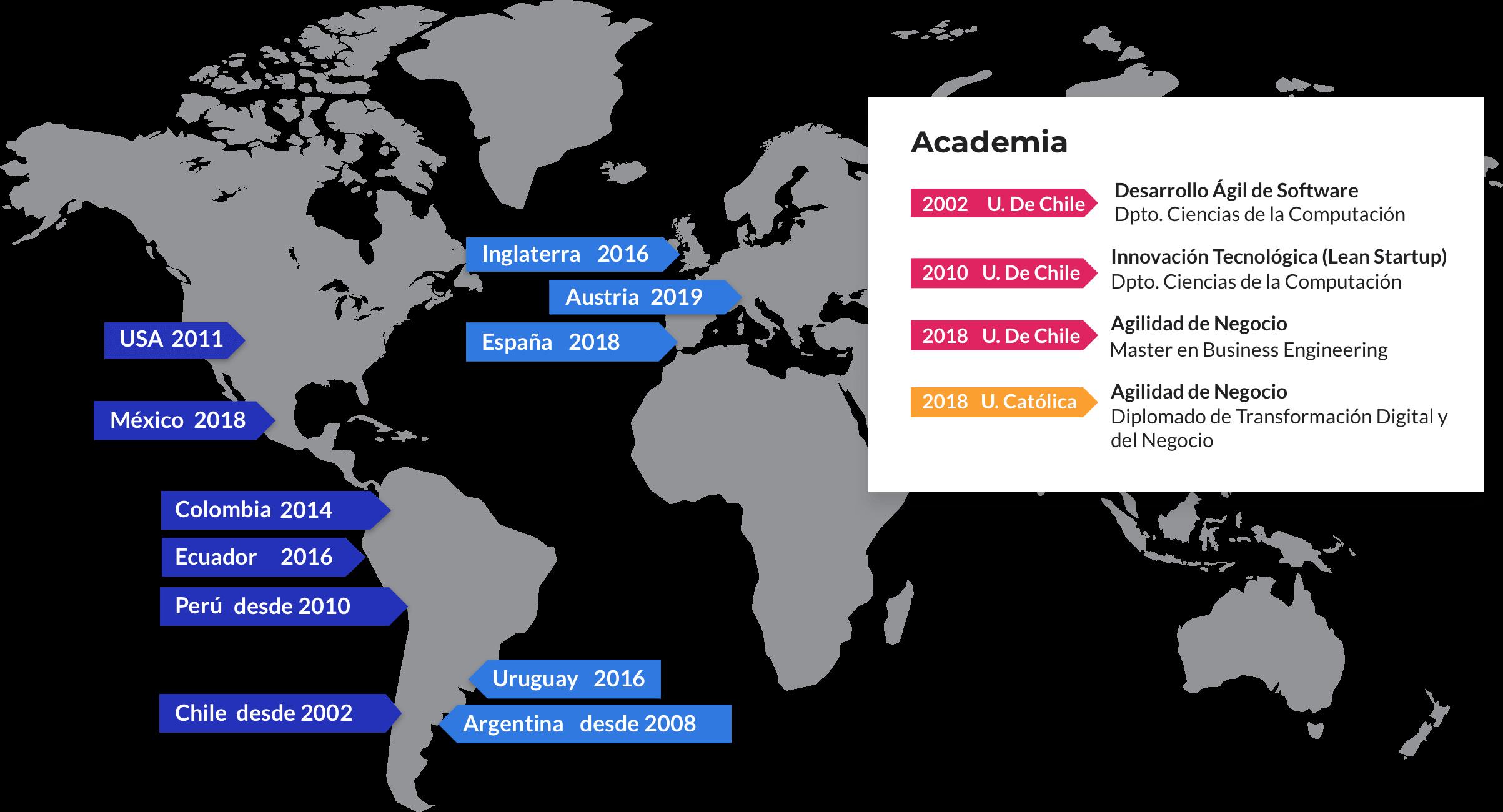 Mapa de reconocimientos a través del mundo de Leansight